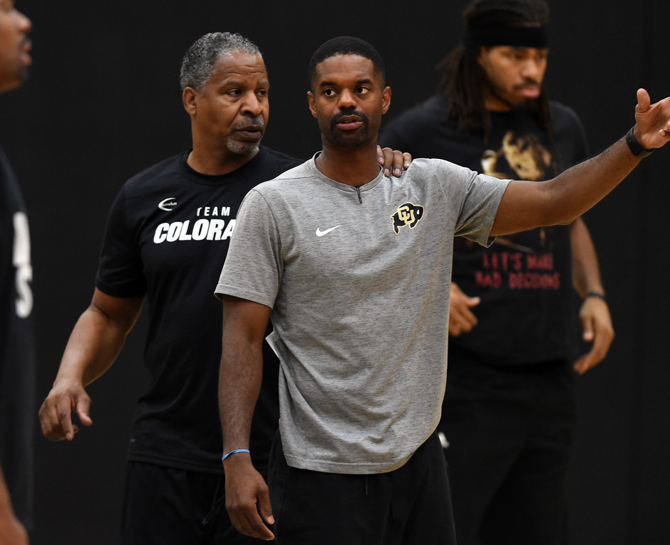 . Former Buff and NBA player, Jay Humphries is helping  Dwight Thorne II with the coaching the TBT team. The 2018 TBT Colorado team was practicing at the CU Events Center on Friday. For more photos, go to buffzone.com. Cliff Grassmick  Staff Photographer  June 29, 2018
