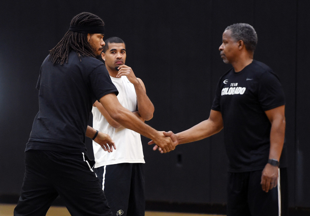 . Former CU and NBA player, Chris Copeland, left, greets former Buff and NBA player, Jay Humphries. The 2018 TBT Colorado team was practicing at the CU Events Center on Friday. For more photos, go to buffzone.com. Cliff Grassmick  Staff Photographer  June 29, 2018