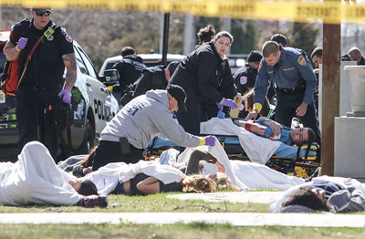 Monmouth County Joint Taskforces participated in a active shooter drill at Saint Dennis' school in Manasquan, NJ on 4/20/18.  [DANIELLA HEMINGHAUS   THE COAST STAR]
