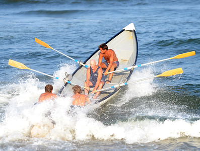 THE MANASQUAN LIFEGUARD TEAM HOSTED THEIR 2018 LIFEGUARD TOURNAMENT WHICH ATTRACTED EIGHT LIFEGUARD TEAMS FROM LOCAL MUNICIPALITIES AT MANASQUAN BEACH, MANASQUAN, NEW JERSEY ON 08/06/2018. (STEVE WEXLER/THE COAST STAR).