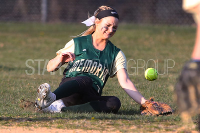 Brick Memorial High School takes on Brick High School in a girls varsity softball game held at Brick Memorial on Friday April 13, 2018. Brick Memorial's # 7 Nicole Acocella can't get to the ball hit by Brick's # 26 (not seen) Marisa Nahrwold as it drops in for a single. (MARK R. SULLIVAN /THE OCEAN STAR)