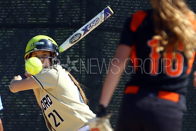 Point  Pleasant Borough High School hosted Barnegat High School in a girls varsity softball game in Point Pleasant Borough on Monday May 7, 2018. Point Pleasant Borough's # 21 Maggie Tiroly (left) keeps her eyes on the ball thrown by Barnegat's # 16 (right) Adriana Romano. (MARK R. SULLIVAN/THE OCEAN STAR)