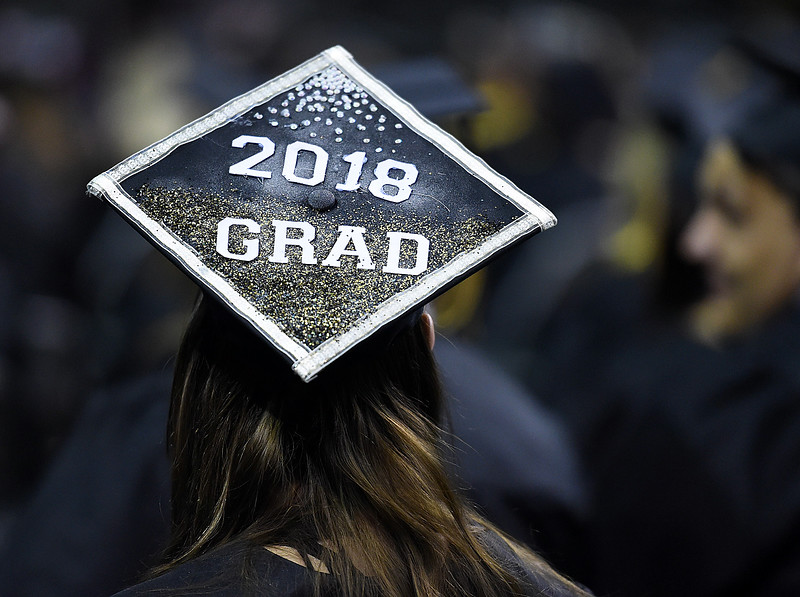 Thompson Valley High School graduate Tasha Proctor wears her decorated cap Saturday, May 26, 2018, during her commencement ceremony at the Budweiser Events Center at The Ranch in Loveland.(Photo by Jenny Sparks/Loveland Reporter-Herald)