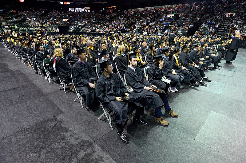 Thompson Valley High School litens to speeches during their graduation ceremony Saturday, May 26, 2018, at the Budweiser Events Center at The Ranch in Loveland.   (Photo by Jenny Sparks/Loveland Reporter-Herald)