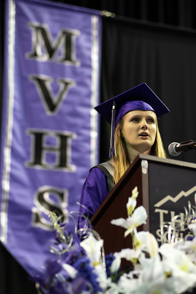 Salutatorian Alison Hall speaks during the Mountain View High School graduation on Saturday, May 26 at the Budweiser Events Center in Loveland.