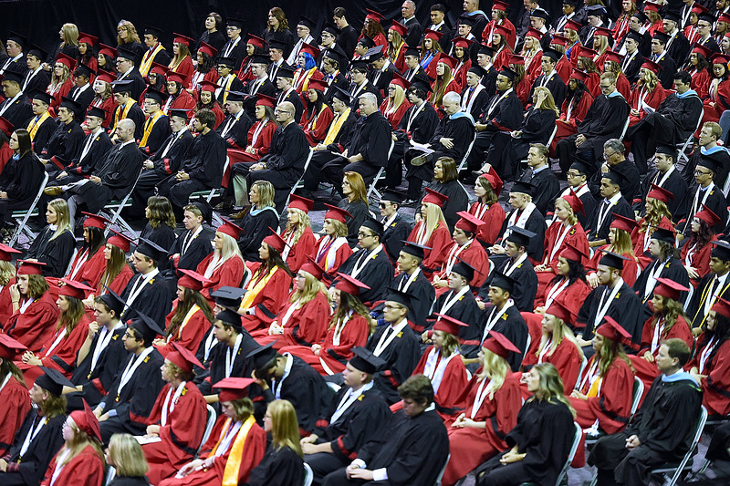 Loveland High School graduates listen to speeches during their graduation ceremony Saturday, May 26, 2018, at the Budweiser Events Center at The Ranch in Loveland.   (Photo by Jenny Sparks/Loveland Reporter-Herald)