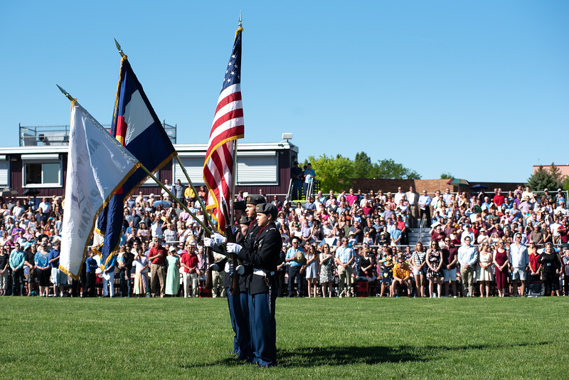 Members of the Berthoud High School JROTC present the colors in the graduation ceremony on Saturday, May 26 at Berthoud High School.
