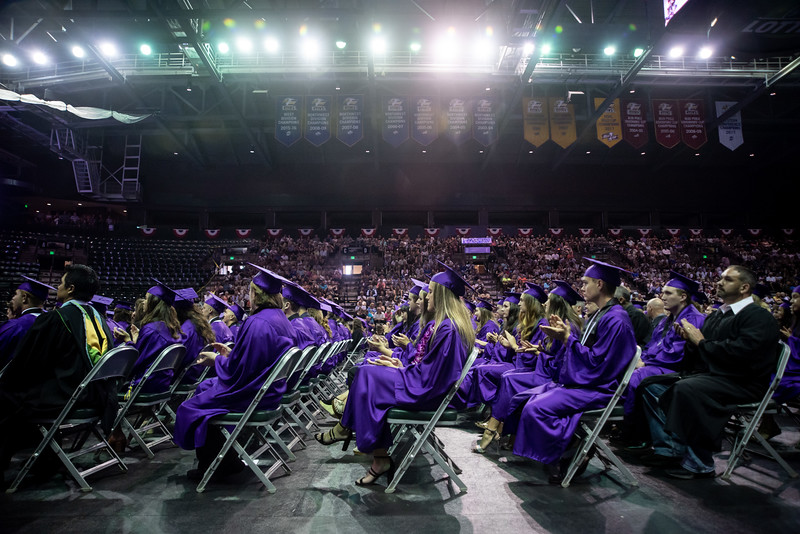 Graduates applaud during the Mountain View High School graduation on Saturday, May 26 at the Budweiser Events Center in Loveland.