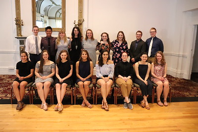 At back from left is Caleb Hunter, Kevin Zheng, Annie Rosenow, Anna Vaughn Stewart, Madison Williamson, Lauren Earley, Holly Deuel, Michael Leblanc, and LJ Boone.    Seated from left is Sharon Engel, Jordan Kelley, Morgan Marty, Nina Schappell, Lauren Zangara, Tess Pricher, Juliet Jacques, and Angelina Balestino.   Not pictured: Mary McMahon and Mackenzie Fisher