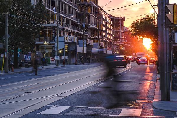Queen St W sunset, Toronto.