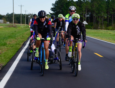 Project Hero participants ride 450 miles from Tallahassee, Fl., to New Orleans during the 2018 UnitedHealthcare Gulf Coast Challenge. Project Hero, a 501(c)3 non-profit organization, is dedicated to helping veterans and first responders affected by PTSD, TBI, illness, and injury achieve rehabilitation, recovery and resilience in their daily lives. Photo by Jimmy Stivers