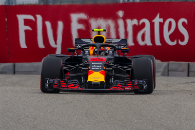 Max Verstappen, Red Bull Racing. Front wheels lean inward so they will run level in high speed turns where G forces can exceed 6 times the force of gravity.