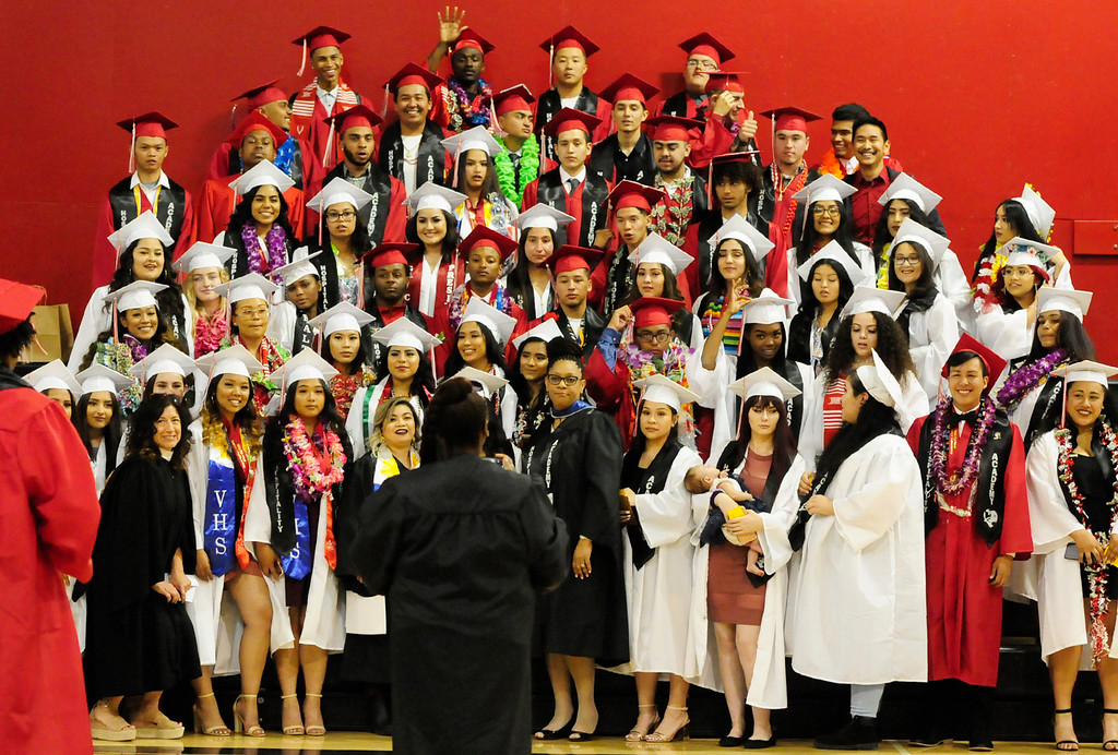 . VALLEJO, CA - JUNE 7, Members of the Hospitality Academy take a group photo before the Vallejo High School graduation on Thursday. (CHRIS RILEY/TIMES-HERALD)