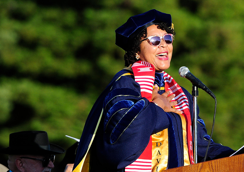 . VALLEJO, CA - JUNE 7, Principal Sheila Quintana delivers her \'Love Letter\' to the class of 2018 during the Vallejo High School graduation on Thursday. (CHRIS RILEY/TIMES-HERALD)