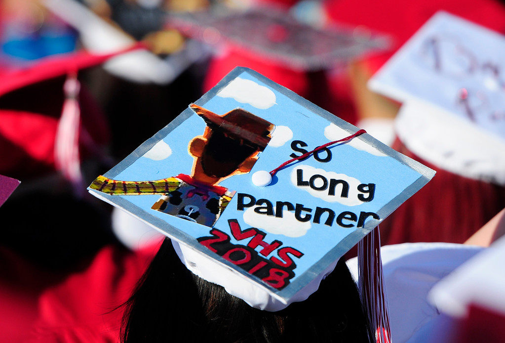 . VALLEJO, CA - JUNE 7, A graduate makes a statement with her cap during the Vallejo High School graduation on Thursday. (CHRIS RILEY/TIMES-HERALD)