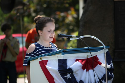 Charles Pritchard - Oneida Daily Dispatch Fifth-grader Natalie Herzog of J.D. George Elementary reads her essay, placing second in the school, about what Memorial Day means to her and her family on Monday, May 28, 2018.