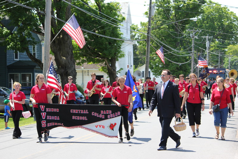 Charles Pritchard - Oneida Daily Dispatch The Vernon-Verona-Sherrill Color Guard Band marches in the Verona Memorial Day Parade on Monday, May 28, 2018.