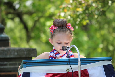 Charles Pritchard - Oneida Daily Dispatch Fifth-grader Camryn Klepadlo of J.D. George Elementary reads her essay, placing third in the school, about what Memorial Day means to her and her family on Monday, May 28, 2018.