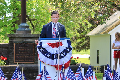 Charles Pritchard - Oneida Daily Dispatch Guest speaker Samuel Getman speaks at Verona's Memorial Day ceremony on Monday, May 28, 2018.