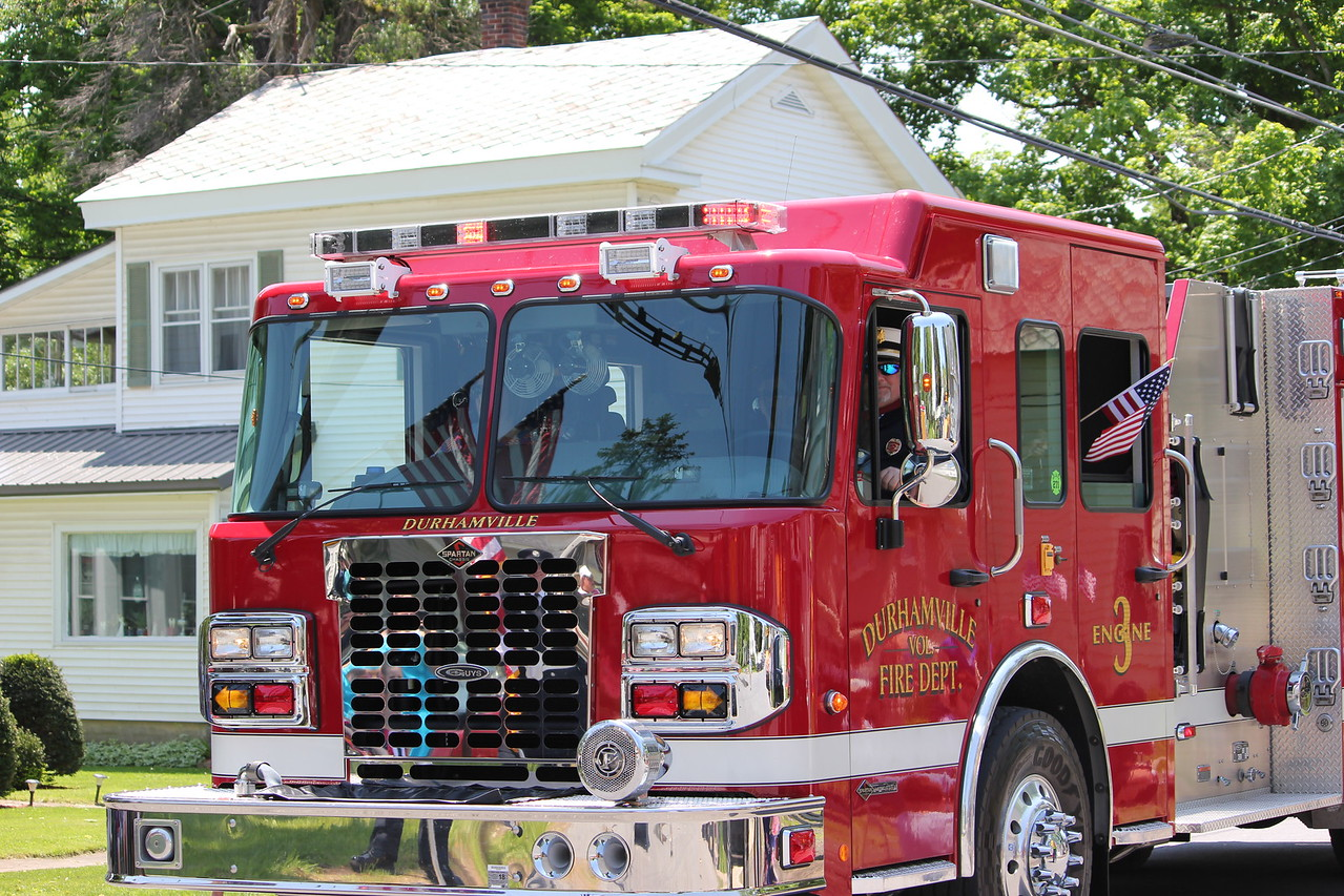 Charles Pritchard - Oneida Daily Dispatch The Durhamville Fire Department drives engine 3 through Verona during Verona's Memorial Day parade on Monday, May 28, 2018.