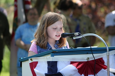 Charles Pritchard - Oneida Daily Dispatch Fifth-grader Isabella Libby of J.D. George Elementary reads her essay, placing third in the school, about what Memorial Day means to her and her family on Monday, May 28, 2018.