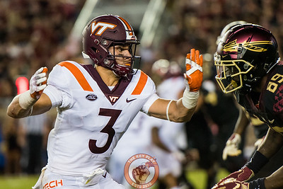 Caleb Farley defends FSU's Kieth Gavin during the matchup between Virginia Tech and Florida State at Doak Campbell Stadium, Monday, Sept. 3, 2018. (Photo by Cory Hancock)