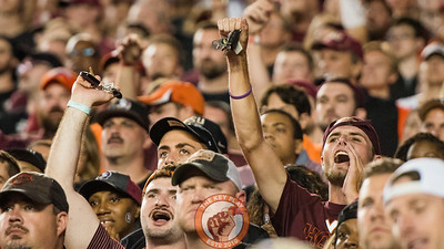 Fans shake their keys for a key play during the matchup between Virginia Tech and Florida State at Doak Campbell Stadium, Monday, Sept. 3, 2018. (Photo by Cory Hancock)