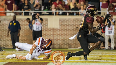 Caleb Farley (3) dives and helps to break up a pass intended for Keith Gavin (89) in the matchup between Virginia Tech and Florida State at Doak Campbell Stadium, Monday, Sept. 3, 2018. (Photo by Cory Hancock)
