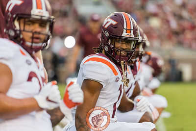 Houshun Gaines smiles during pregame warmups prior to the matchup between Virginia Tech and Florida State at Doak Campbell Stadium, Monday, Sept. 3, 2018. (Photo by Cory Hancock)