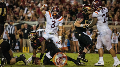 Caleb Farley celebrates a sack on Deondre Francois in the matchup between Virginia Tech and Florida State at Doak Campbell Stadium, Monday, Sept. 3, 2018. (Photo by Cory Hancock)