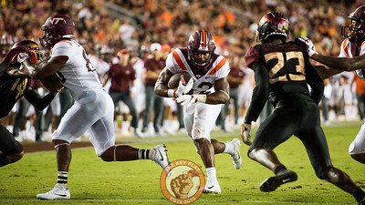 Steven Peoples (32) runs in the matchup between Virginia Tech and Florida State at Doak Campbell Stadium, Monday, Sept. 3, 2018. (Photo by Cory Hancock)