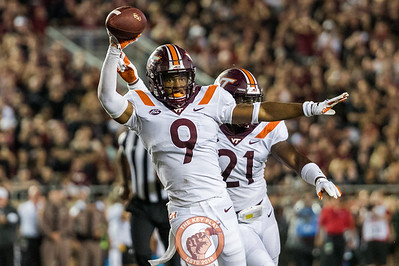 Khalil Ladler (9) celebrates his fumble recovery in the matchup between Virginia Tech and Florida State at Doak Campbell Stadium, Monday, Sept. 3, 2018. (Photo by Cory Hancock)