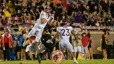 Caleb Farley (3) intercepts a pass in the matchup between Virginia Tech and Florida State at Doak Campbell Stadium, Monday, Sept. 3, 2018. (Photo by Cory Hancock)