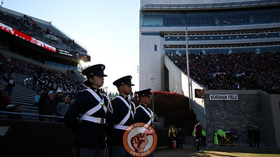 Cadets stand at attention before the national anthem prior to kickoff. (Mark Umansky/TheKeyPlay.com)