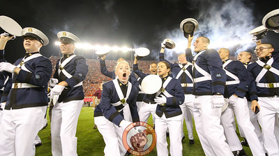 Freshmen members of the Corps of Cadets cheer right after the Hokies take the field to Enter Sandman. (Mark Umansky/TheKeyPlay.com)