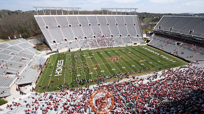 Lane Stadium starts to fill up with fans in anticipation of the Spring Game. (Mark Umansky/TheKeyPlay.com)