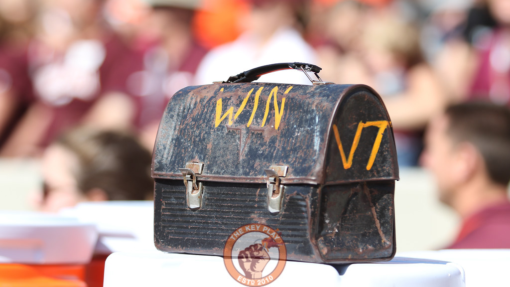 The Virginia Tech lunchpail sits behind the defensive benches. (Mark Umansky/TheKeyPlay.com)