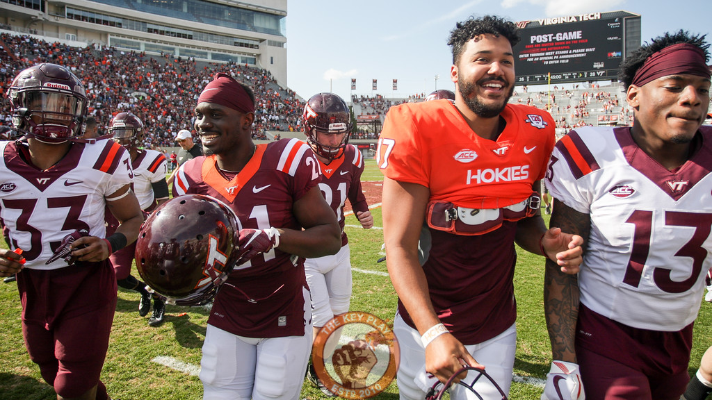 The Hokies leave the field after the conclusion of the spring game. (Mark Umansky/TheKeyPlay.com)