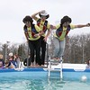 Friends Ryan Heng, 18, Henry Higgins, 18, and their North Hampton High School technology teacher Jeromie Whalen, 30, got all dressed up for the 2018 Wachusett Polor Dip to raise money for Camp Sunshine at Wachusett Mountain Ski Area in Princeton on Saturday, March 10, 2018. The event raised over $50,000 dollars for the camp. SENTINEL & ENTERPRISE/JOHN LOVE