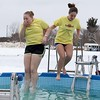 Kiersten Laromee, 18, and Nicole Sterste, 17, from Belchertown were the last two into the freezing cold water during the 2018 Wachusett Polor Dip to raise money for Camp Sunshine at Wachusett Mountain Ski Area in Princeton on Saturday, March 10, 2018. The event raised over $50,000 dollars for the camp. SENTINEL & ENTERPRISE/JOHN LOVE