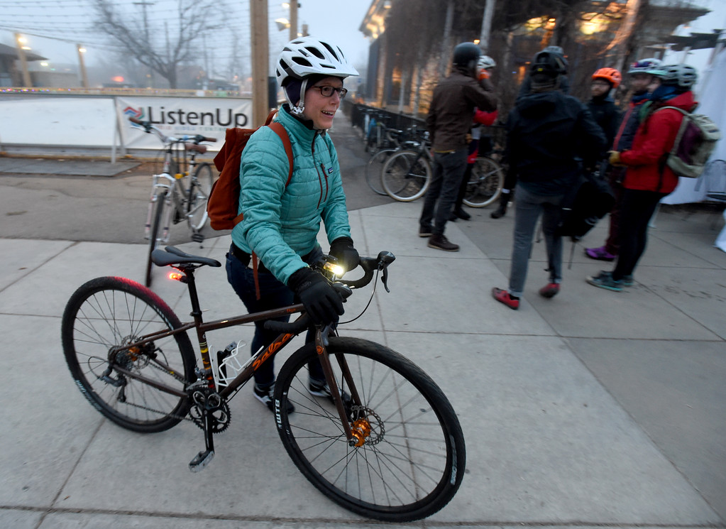 . Dorothy Fibiger stops at the Dushanbe Teahouse food station on her bike to work adventure. Friday was Winter Bike to Work Day in Boulder County. For a video and gallery, go to dailycamera.com. Cliff Grassmick  Photographer  February 9, 2018