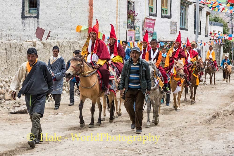 Lamas Ride Through Town