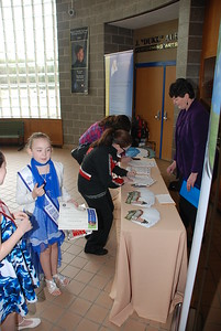 The event registration table at the J. Duke Albanese Performing Arts Center