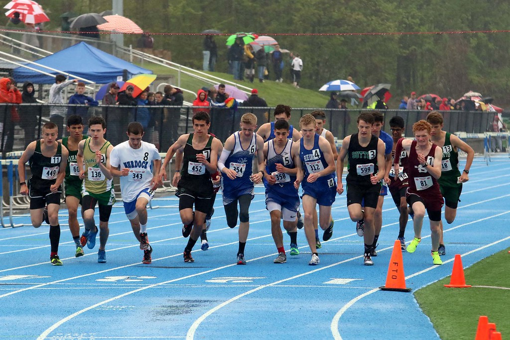 . The start of one of the heats of the 1 miles at the meet held at Lunenburg Middle High School on Saturday afternoon. SENTINEL & ENTERPRISE/JOHN LOVE