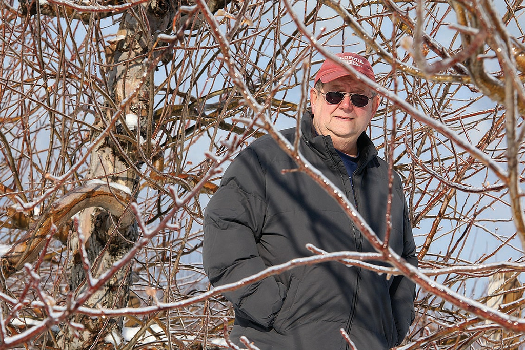 . Joe LeBlanc is a volunteer at Sholan Farms in Leominster. He is seen here among the apple trees in the orchard, February 8, 2018. SENTINEL & ENTERPRISE/JOHN LOVE