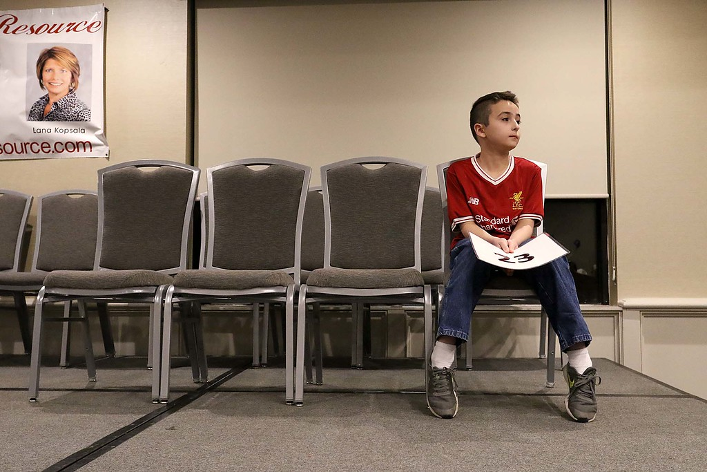 . Leominster North West Elementary School fifth grader William Vasquezi who came in third during the 2018 North Central Massachusetts Regional Spelling Bee on Tuesday night at the Doubletree Hotel by Hilton in Leominster waits his turn to tries and spell a word during the competition. SENTINEL & ENTERPRISE/JOHN LOVE