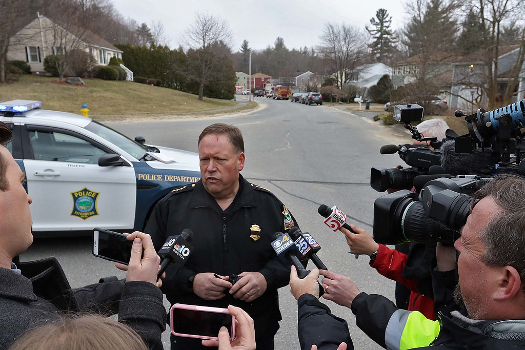 . Fitchburg Police Chief Ernest F. Martineau talks to the press at the scene on Stony Brook Road. SENTINEL & ENTERPRISE/JOHN LOVE