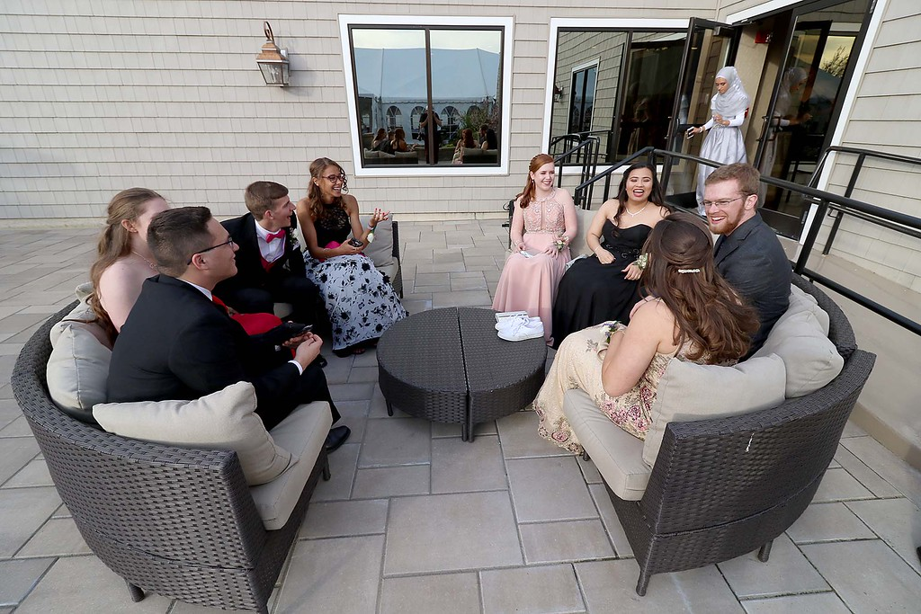 . Ayer Shirley regional High School Prom was held a the Colonial Hotel in Gardner on Friday night, May 18, 2018. Some of the students hang out talking as the prom got under way. SENTINEL & ENTERPRISE/JOHN LOVE