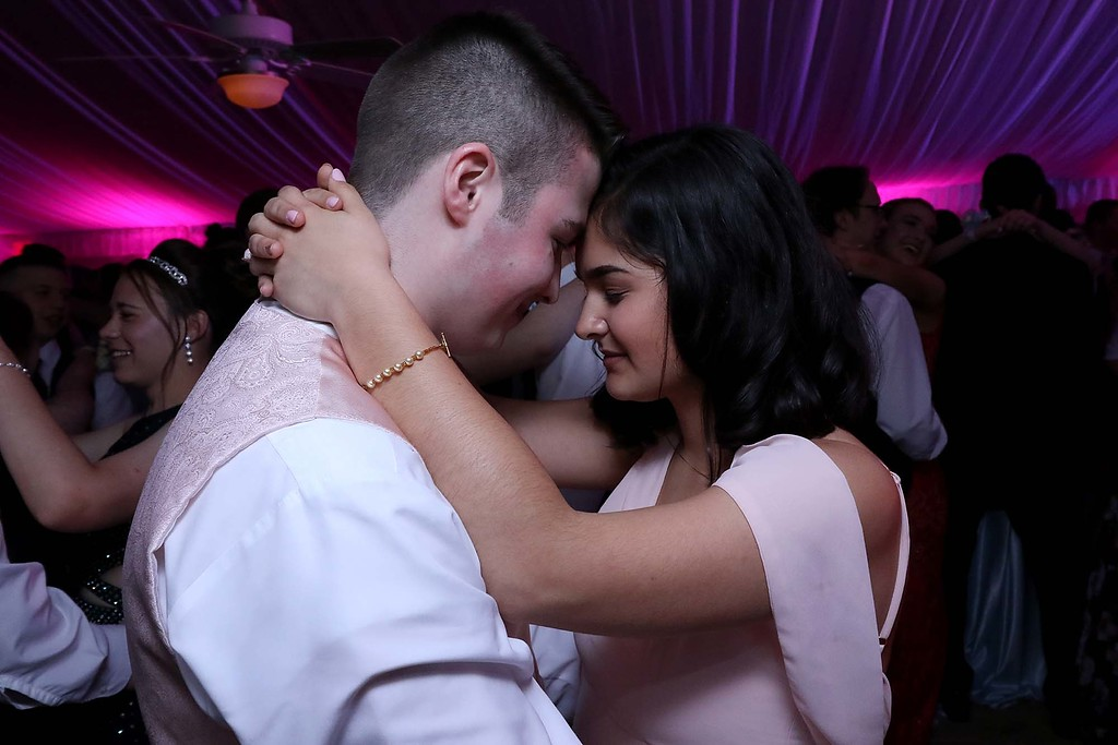 . Oakmont Regional High School Prom was held a Wachusett Mountain in Princeton on Saturday, May 20, 2018. Dancing to and Ed Sheeran song during the prom is Patrick Marchand and Mya Hamilton. SENTINEL & ENTERPRISE/JOHN LOVE