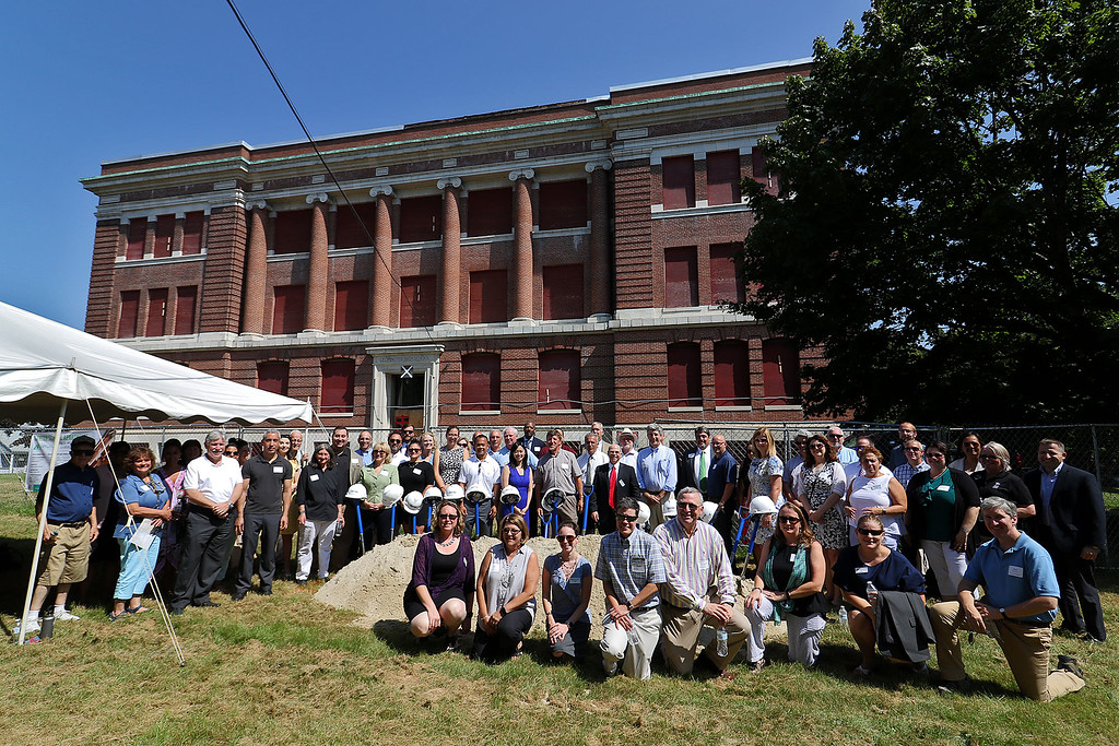 . The ground breaking for the redevelopment of the Carter Street School was held on Wednesday morning in Leominster. Everyone that showed up posed for a picture during the ceremony. SENTINEL & ENTERPRISE/JOHN LOVE